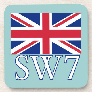 London Postcode SW7 with Union Jack Coaster