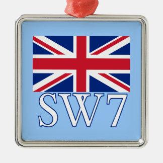 London Postcode SW7 with Union Jack Christmas Ornament