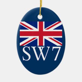 London Postcode SW7 with Union Jack Christmas Ornaments