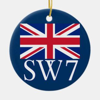 London Postcode SW7 with Union Jack Ornament