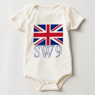 London Postcode SW9 with Union Jack Baby Bodysuit