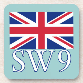 London Postcode SW9 with Union Jack Drink Coaster