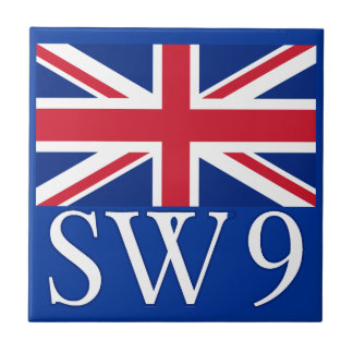 London Postcode SW9 with Union Jack Small Square Tile
