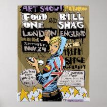 artsprojekt, london print, poster, jim, mahfood, food, one, 40oz, comics, clerks, grrl scouts, colt 45, stupid, page, filler, man, live art, live, art, z-trip, murs, felt, true, tales, underground, hip, hop, sarah, silverman, program, frenchpulp, mahf, earthworms, comic, books., jim mahfood, jim mahfood skateboards, food one skateboards, 40 oz comics skateboards, food one, Cartaz/impressão com design gráfico personalizado
