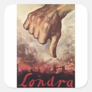 London Propaganda Poster Square Sticker