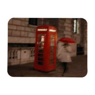 London - Rainy Day Phone Box - Umbrella Magnet