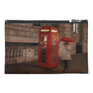 London Rainy Day Red Phone Box Travel Bag