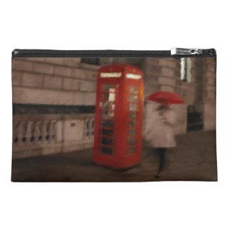 London Rainy Day Red Phone Box Travel Bag