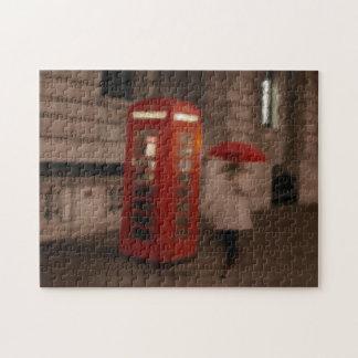 London - Rainy Day Red Phone Box / Umbrella Puzzle