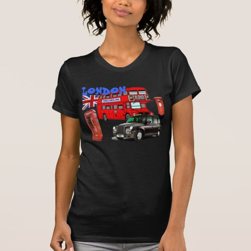 london red bus and icons of england tshirt