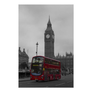 London Red bus Big Ben Poster