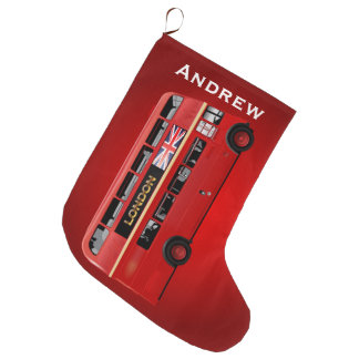 London Red Bus Large Christmas Stocking