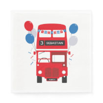 London Red Bus Personalised Birthday Paper Napkins