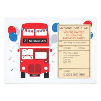 London bus invitations announcements zazzle london red bus personalised birthday party invite stopboris Image collections