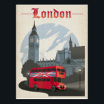 """London - Red Bus Postcard<br><div class=""""desc"""">Anderson Design Group is an award-winning illustration and design firm in Nashville,  Tennessee. Founder Joel Anderson directs a team of talented artists to create original poster art that looks like classic vintage advertising prints from the 1920s to the 1960s.</div>"""