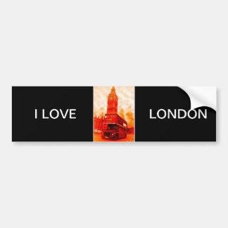 London Red Bus & the Big Ben Bumper Sticker