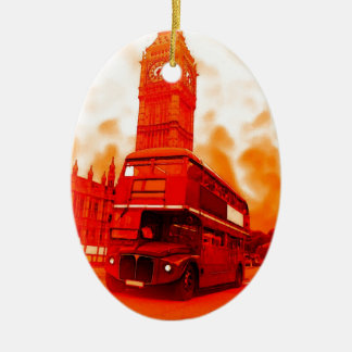 London Red Bus & the Big Ben Double-Sided Oval Ceramic Christmas Ornament