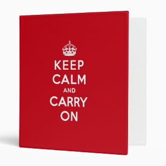London Red Keep Calm and Carry On 3 Ring Binder