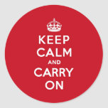 London Red Keep Calm and Carry On Classic Round Sticker