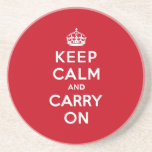 London Red Keep Calm and Carry On Drink Coasters