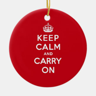 London Red Keep Calm and Carry On Double-Sided Ceramic Round Christmas Ornament