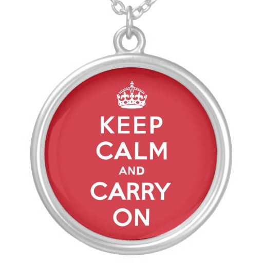 London Red Keep Calm and Carry On Round Pendant Necklace