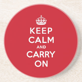 London Red Keep Calm and Carry On Sandstone Coaster