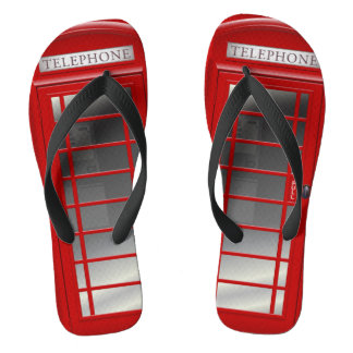 London Red Phone Booth  Call Box Flip Flops