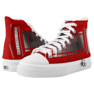 London Red Phone Booth High-Top Sneakers