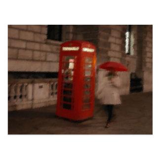 London Red Phone Box / Umbrella Postcard Painting