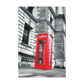 London Red Phone Box Wrapped Canvas Print