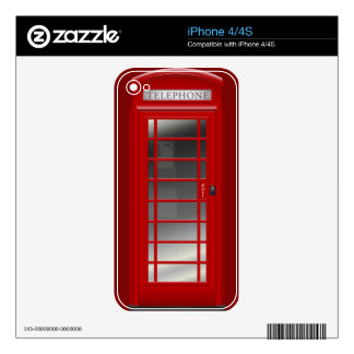 London Red Phone CallBox Funny iPhone 4 Case Decal For iPhone 4