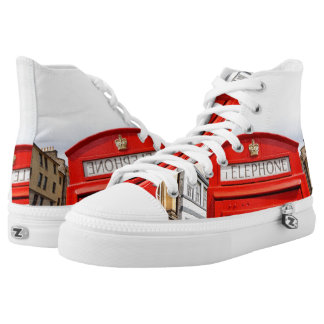 London, red phonebox, Custom Zipz High Top Shoes Printed Shoes