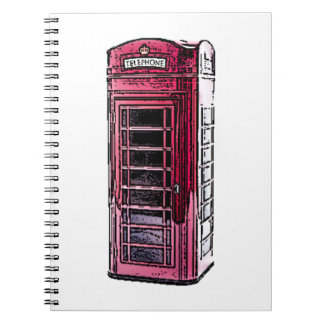 London Red Telephone Booth Drawing Art Spiral Note Book