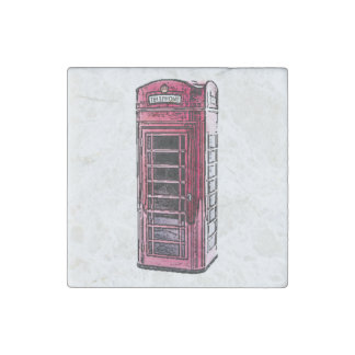 London Red Telephone Booth Drawing Art Stone Magnet