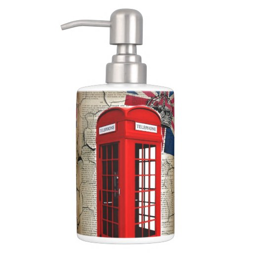 London red telephone booth fashion british flag bath accessory sets zazzle - Bathroom accessories london ...