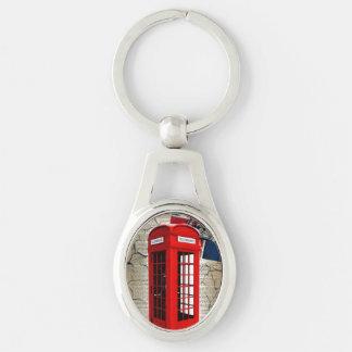 london red telephone booth fashion british flag keychain