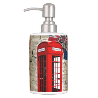 london red telephone booth fashion british flag bath accessory sets