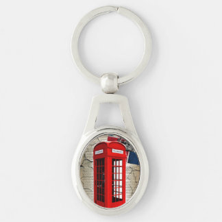london red telephone booth fashion british flag Silver-Colored oval metal keychain