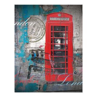 London red telephone booth Landmark Vintage Letterhead Template