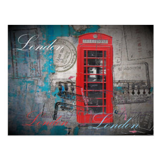 London red telephone booth Landmark Vintage Post Card
