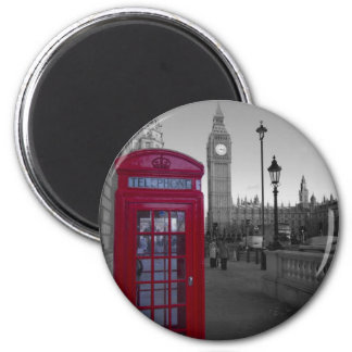 London Red Telephone box 2 Inch Round Magnet