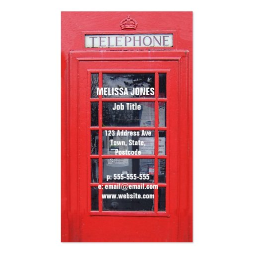 London Red Telephone Box Business Card