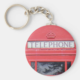 London Red Telephone Box Basic Round Button Keychain