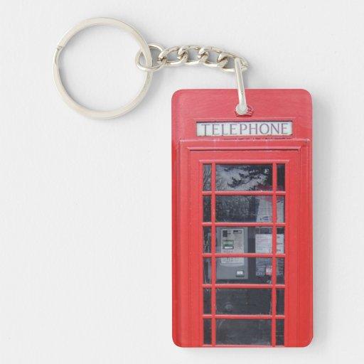London Red Telephone Box Rectangular Acrylic Keychains