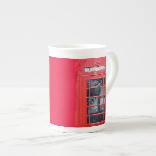 London Red Telephone Box Bone China Mugs