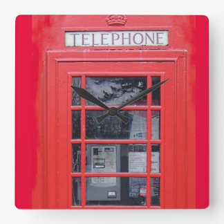 London Red Telephone Box Square Wall Clock