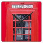 London Red Telephone Box Square Wallclock