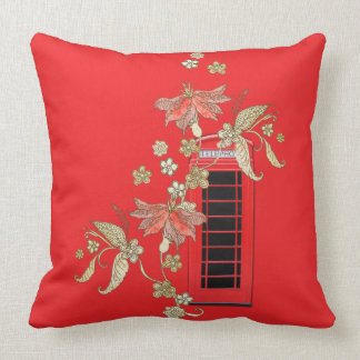 London Red Telephone Box Throw Pillow Pillows