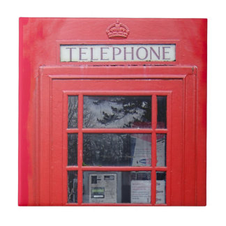 London Red Telephone Box Ceramic Tile